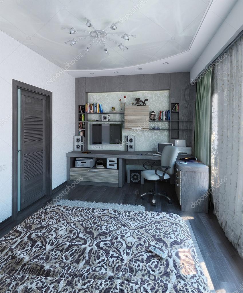 Moderne slaapkamer interieurontwerp, 3d render — stockfoto ...