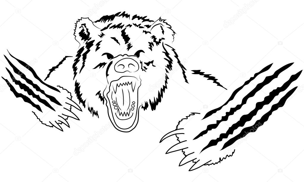 Grizzly bear cartoon black and white