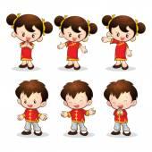 Chinese boy girl — Stock Vector