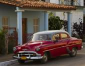 Red Classic car, Cuba — Stock Photo