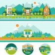 Camp Tiny Green Houses and Outdoor Recreation Vector Set in flat style. Ecological style of living concept. — Stock Vector #78610592