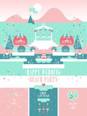 Happy Wedding Beach Party Vector Set. Landscape with vintage decoration elements and 3 designs of invitation cards. — Stock Vector