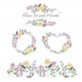 Vector illustration of flowers and flower wreaths set in flat de — Stockvektor