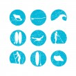 Vector illustration of stand up paddling silhouette icon set in — Stock Vector #79862486