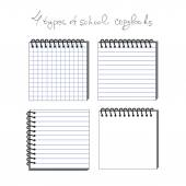 The vector illustration of 4 types of school copybooks — Stock Vector