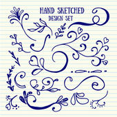 Hand drawn set of vintage elements — Stock Vector