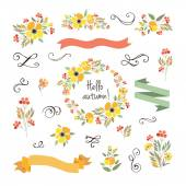 """Signature """"Hello autumn"""" with red, brown and orange flowers and — Stock Vector"""
