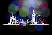 Vector illustration of Oktoberfest card with Munich landscape an — Stock Vector