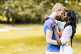 Couple in love hugging peacefully — Stock Photo
