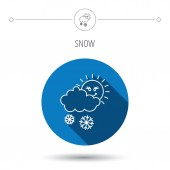 Snow with sun icon. Snowflakes with cloud sign. — Vetor de Stock