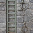 Metal ladder and two rings mounted on the old stone wall of Prague waterfront. — Stock Photo #81037870