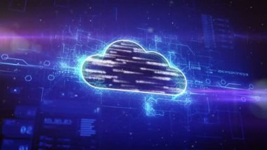 Binary cloud in digital cyber space — Stock Video