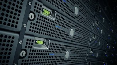 Animation of rack servers in data center — Stock Video