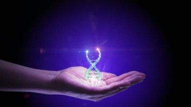 Dna 鎖のホログラム画像を持っている手 — ストックビデオ