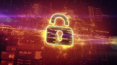 Digital padlock in cyber space — Stock Video