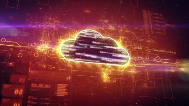 Nube de binaria con el ciberespacio digital — Vídeo de stock