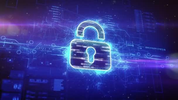Candado digital en el cyber espacio — Vídeo de stock