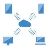 Flat design concept of cloud service — Stock Vector