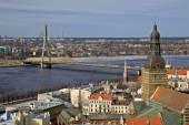 Aerial view of Riga center and river Daugava  from St. Peter's Church, Riga, Latvia — Stock Photo