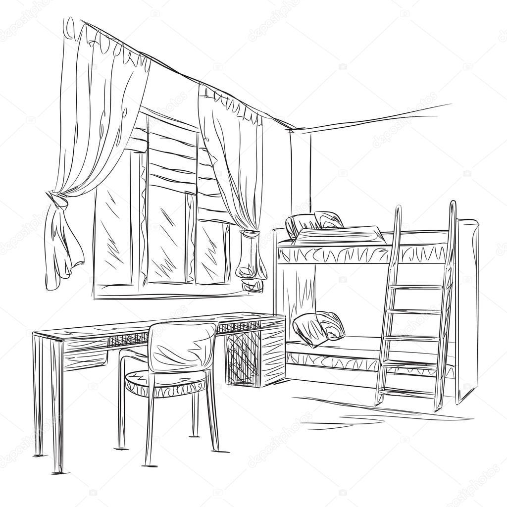 Dormitorio Dibujo ~ Dibujo interior de la habitación Dormitorio con lugar de trabajo u2014 Archivo Imágenes Vectoriales