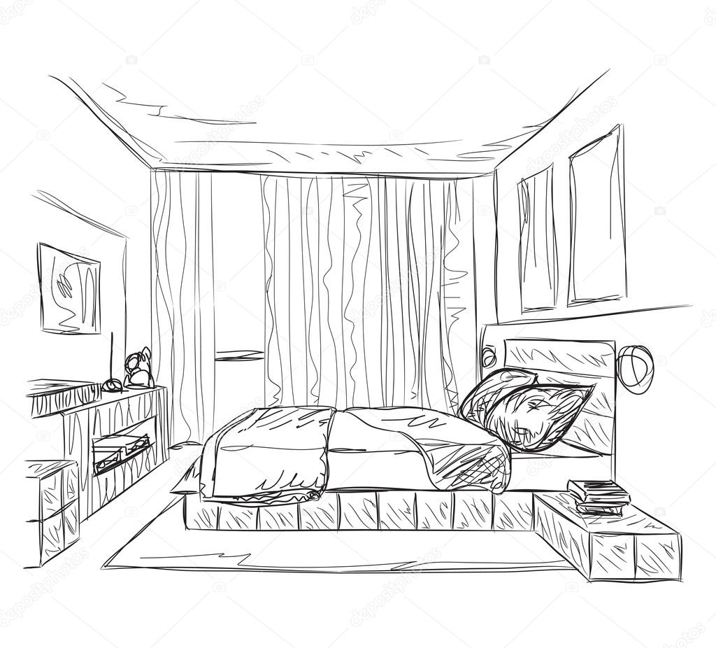 Bedroom modern interior sketch stock vector yuliia25 for Bedroom designs sketch