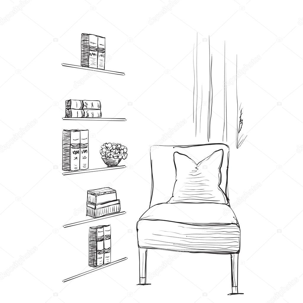 Stuhl gezeichnet  Bücherregal Gezeichnet | ambiznes.com