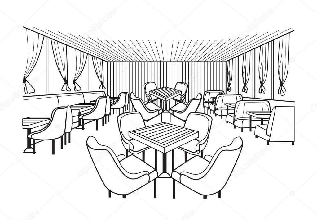 Skizze Des Restaurant-Interieur