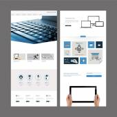 One Page Website Template and Header Designs — Stock Vector