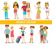 People on vacation — Stock Vector