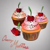 Cherry muffins — Stock Vector