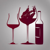 Bicchiere di vino e bottiglia con rosso splash — Vettoriale Stock