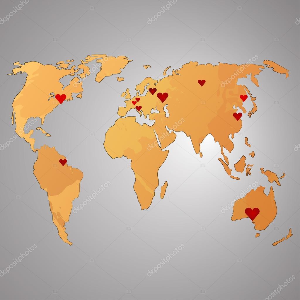 世界地图水彩矢量图