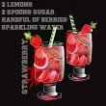 Strawberry lemonade with ricepe watercolor splash — Stock Vector #82948520