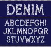 Vector serif font  handcrafted texture. Denim — Stock Vector