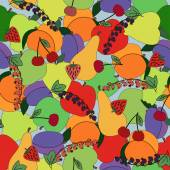 Fruits seamless pattern. Bright colors — Stock Vector