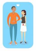 Vector cartoon couple in love — Stock Vector