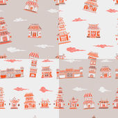 Set of 4 chinese or japanese buildings seamless pattern — Stock Vector