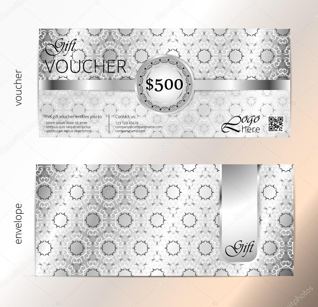 voucher and envelope set gift certificate luxury coupon template voucher and envelope set gift certificate luxury coupon template floral scroll pattern