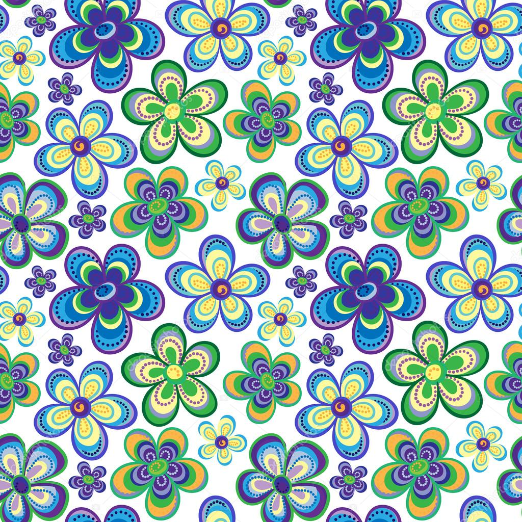 Cute spring flower - Seamless Colorful Retro Flower Background Pattern In Vector Cute Spring Flowers Hippi Seamless Pattern