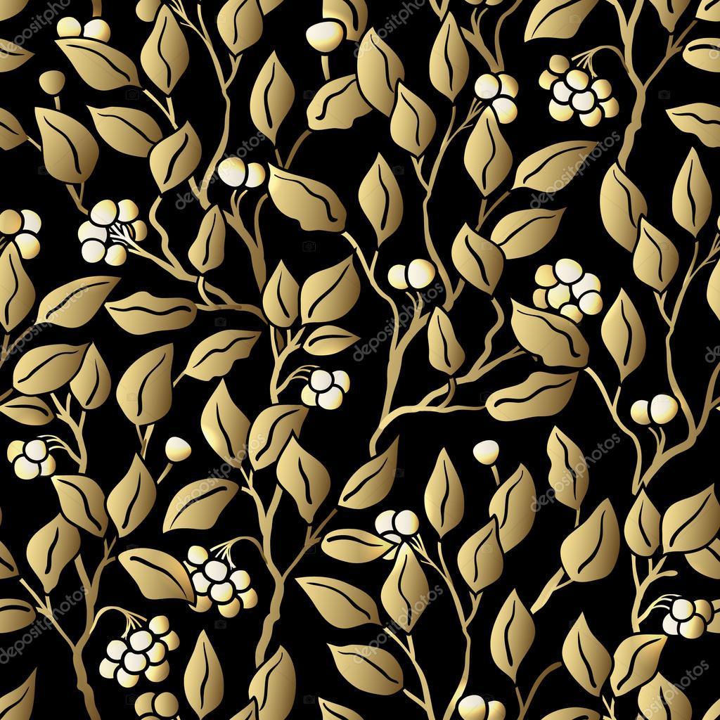 Naadloze gestileerde blad patroon naadloze decoratieve sjabloon patroon met bladeren zwart en - Behang zwart en goud ...