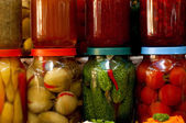 Légumes et fruits conservés — Photo