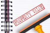 Property value rubber stamp on the note book — Stock Photo