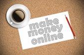 Kaffee und Bleistift Skizze machen Geld online auf Papier — Stockfoto