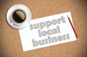 Coffee and pencil sketch support local business on paper — Stock Photo