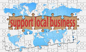 Support local business word with reveal jigsaw — Stock Photo