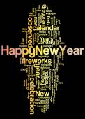 Word cloud of happy new year and its related words — Stock Photo