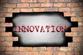 Otwór w mur z podpisem inovation wewnątrz — Zdjęcie stockowe