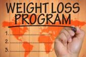 Hand writing weight loss program — Stock Photo