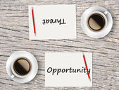Business Concept : Comparison between opportunity and threat — Stock Photo