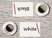 Business Concept : Comparison between black and white — Stock Photo